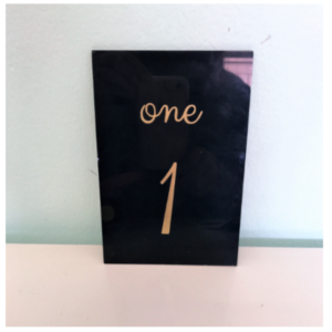 Black & Gold Table Number