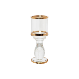 Gold Rim Crystal Candle Holder