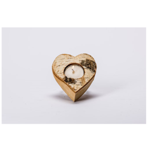 Wooden Heart Candle Holder